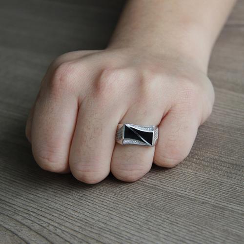 bague homme argent zirconium agate 8100279 pic6