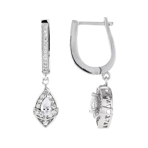 boucle oreille femme argent zirconium 9300096
