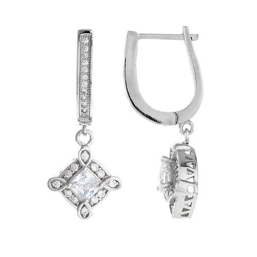 boucle oreille femme argent zirconium 9300097