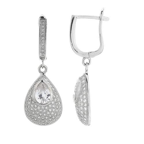 boucle oreille femme argent zirconium 9300215