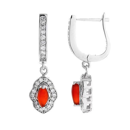 boucle oreille femme argent zirconium agate 9300099
