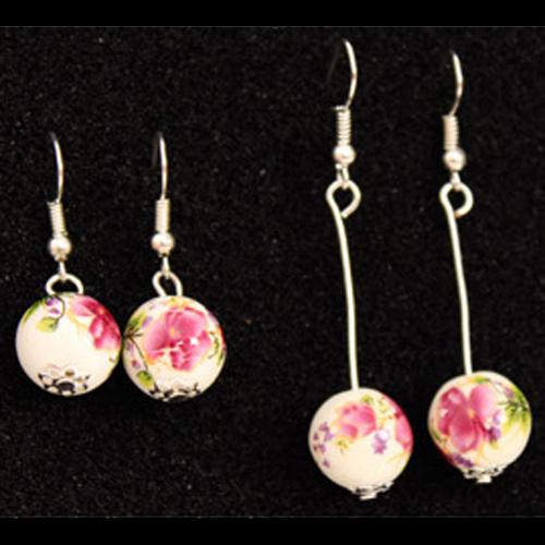 boucles oreilles ceramique plaque argent pic2