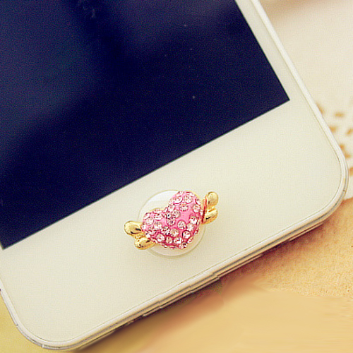 bouton iphone coeur diamant