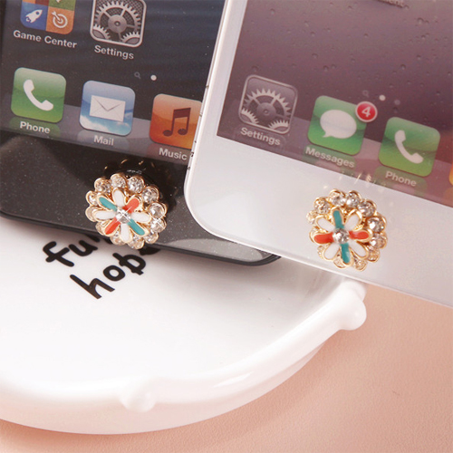 bouton iphone fleur diamant pic2