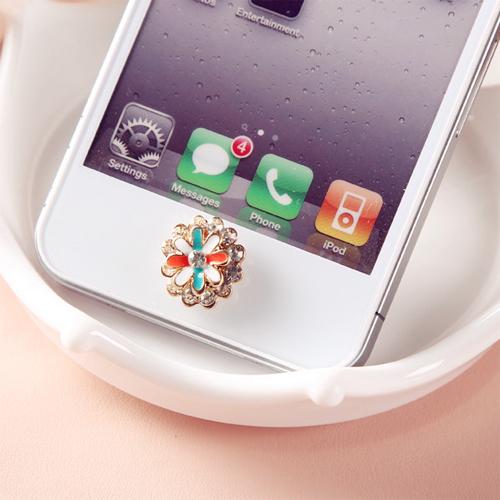 bouton iphone fleur diamant pic6