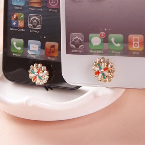 bouton iphone fleur diamant