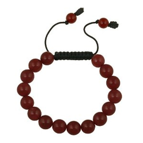 bracelet perles agate rouge 1605