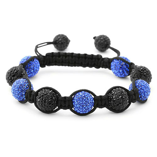bracelet perles cristal bleu et noir 1557