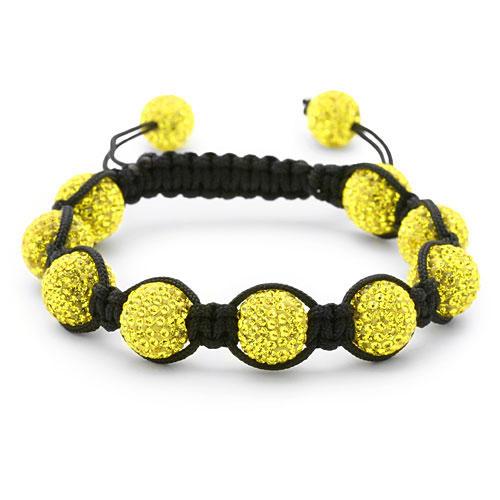 bracelet perles cristal jaune 1555
