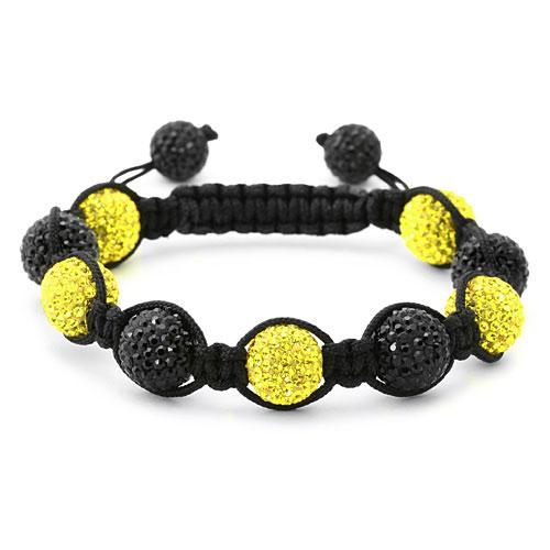 bracelet perles cristal jaune et noir 1558
