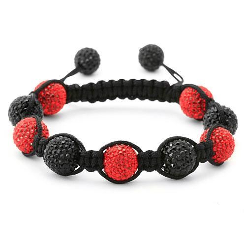 bracelet perles cristal rouge et noir 1556