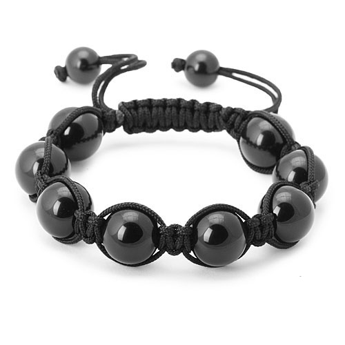 bracelet perles onyx noir 1563