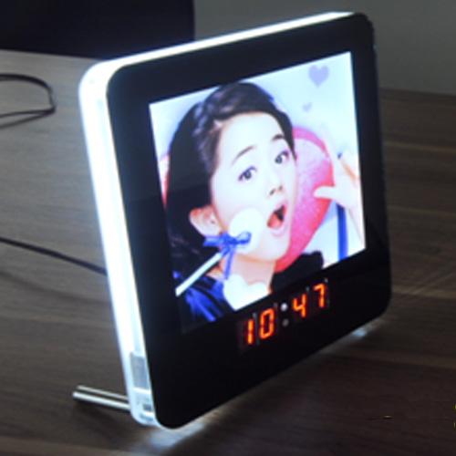 cadre photo led horloge
