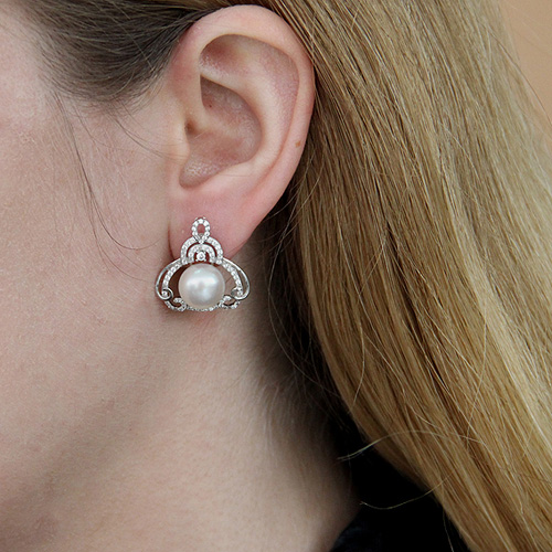 dormeuse femme argent zirconium perle 8700100 pic5