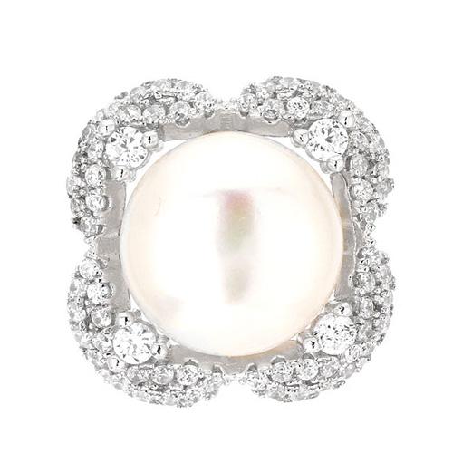 dormeuse femme argent zirconium perle 8700102 pic2