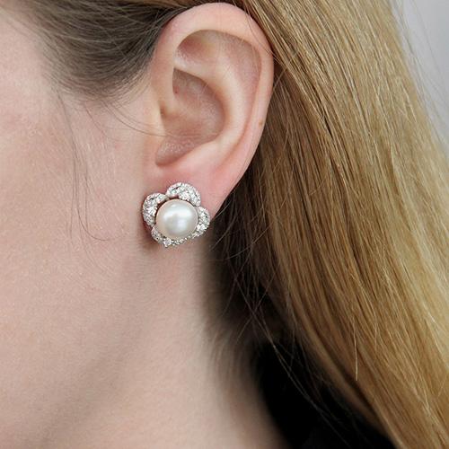 dormeuse femme argent zirconium perle 8700102 pic5