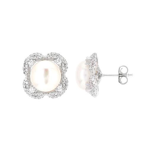 dormeuse femme argent zirconium perle 8700102