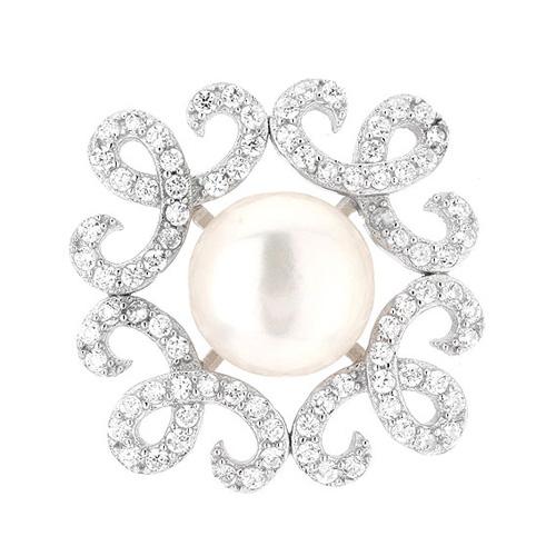 dormeuse femme argent zirconium perle 8700104 pic2