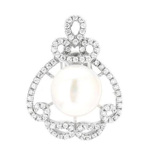 dormeuse femme argent zirconium perle 8700105 pic2