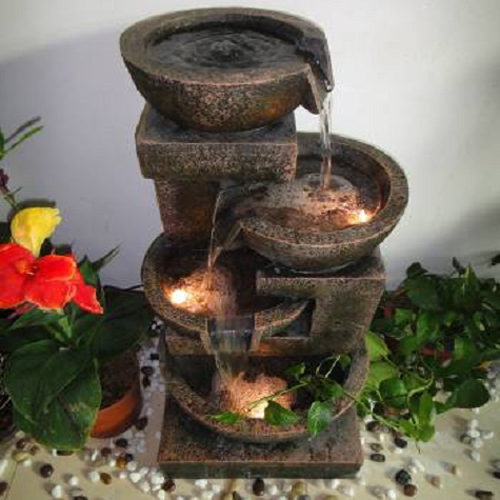 Fontaine d 39 int rieur cascade 4 pots clair s sur grossiste for Fontaines decoratives d interieur