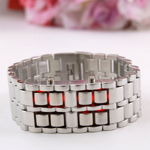 montre led design bracelet acier