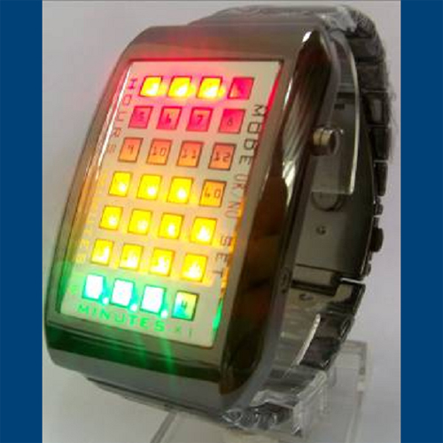 montre metal 28 leds GL1049