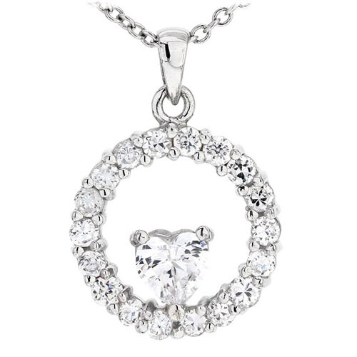 pendentif femme argent zirconium 8300506