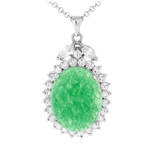 pendentif femme argent zirconium jade 8300433