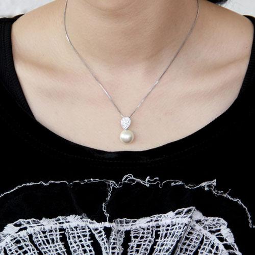 pendentif femme argent zirconium perle 8300389 pic4