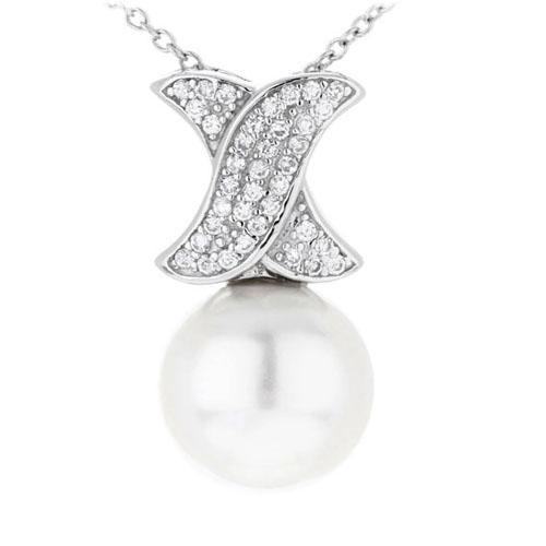 pendentif femme argent zirconium perle 8300391