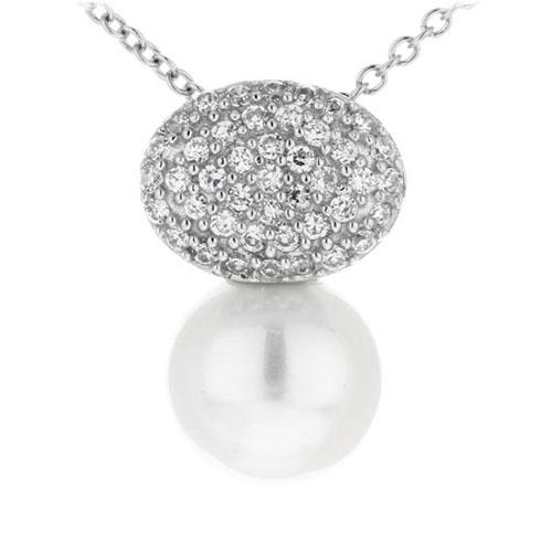 pendentif femme argent zirconium perle 8300393