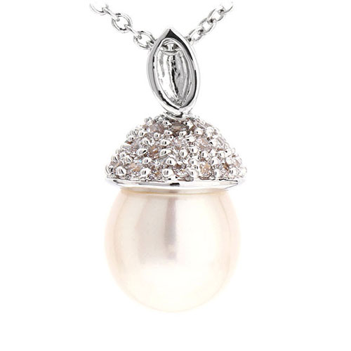 pendentif femme argent zirconium perle 8300517 pic3