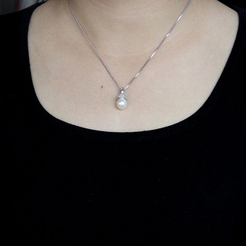 pendentif femme argent zirconium perle 8300517 pic4