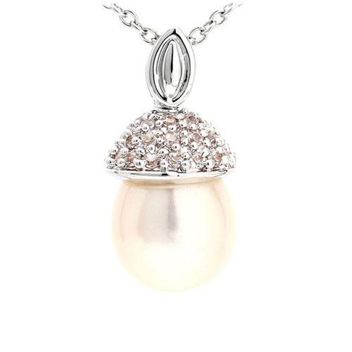 pendentif femme argent zirconium perle 8300517