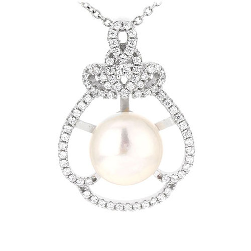 pendentif femme argent zirconium perle 8300534