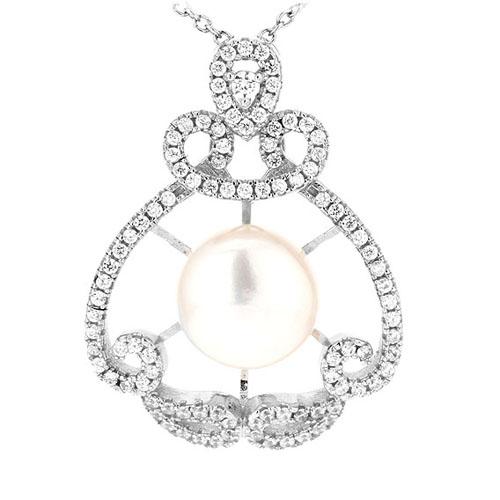 pendentif femme argent zirconium perle 8300535
