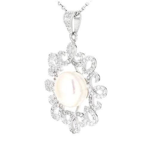 pendentif femme argent zirconium perle 8300536 pic2