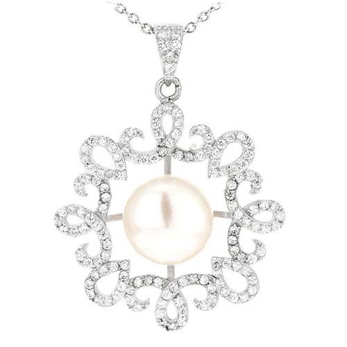 pendentif femme argent zirconium perle 8300536