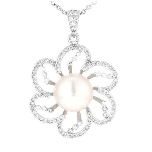 pendentif femme argent zirconium perle 8300537