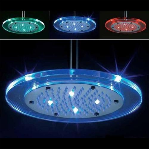 pommeau de douche lumineux en verre 20 x 20 cm energie hydrolique ld8030a6 sur grossiste. Black Bedroom Furniture Sets. Home Design Ideas