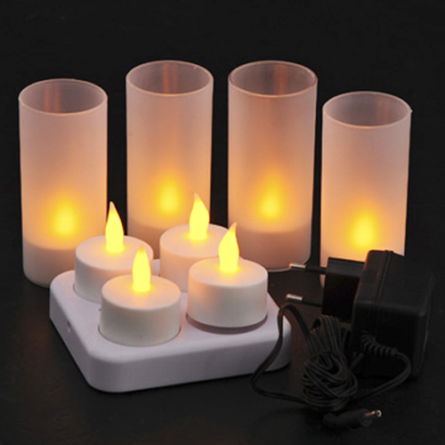 set 4 bougies led rechargeables