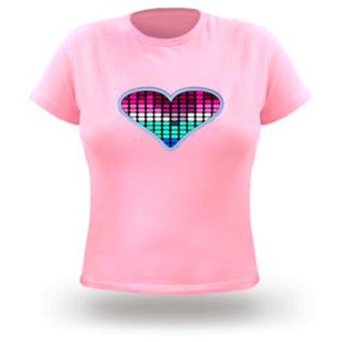 t shirt rose pour femmes logo led anime pic2